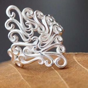 Vintage Carved Design Finger Rings 925 sliver